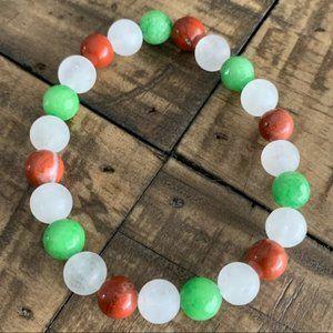 White Quartz Green Jade Red Jasper Bracelet